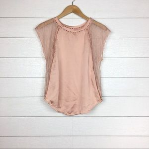 NWT Feather Bone Pink Satiny Lace Blouse